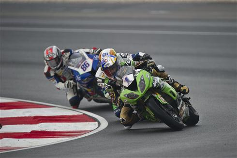 Wet Track Decides All For Battling Kawasaki Riders