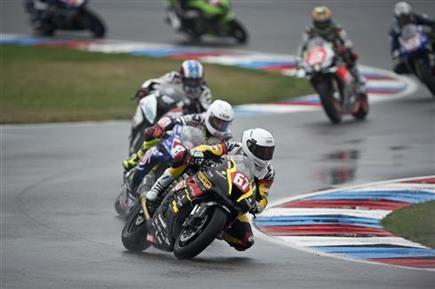 Podium For Staring And The Ninja ZX-10R At A Wet Lausitzring